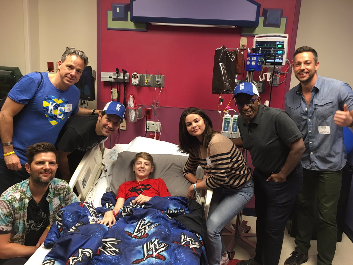 Our goal is to provide hope, care and cures for all kids. A few songs and laughs help too! @BigSlickKC allows us to get one step closer to our goal every day. THANK YOU! @ZacharyLevi @selenagomez @alroker @jaketapper @AdamScotti #bigslick10