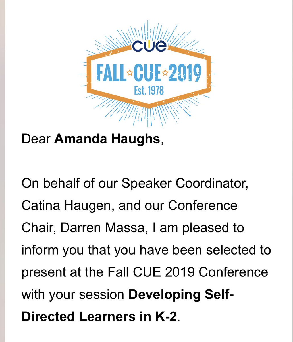 After a long hiatus, excited to present at Fall CUE this October w/@thehughes2! We'll discuss our journey & strategies for developing more self-directed learners in K-2 #K2CanToo #FallCUE19 #WeAreCUE #caedchat