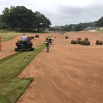 Image for the Tweet beginning: Six trucks of sod down