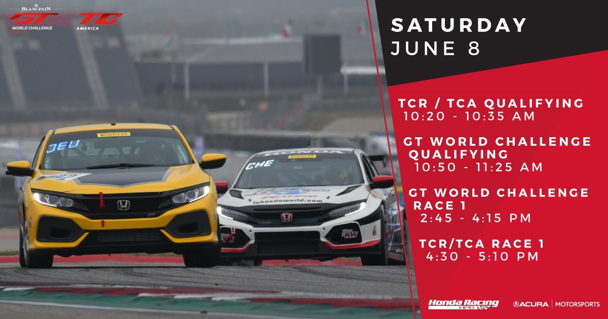 Were at @RaceSonoma today with @SROAmerica in GT (@Acura NSX GT3) and TC America (@Honda Civic Type R TCR & Si)!