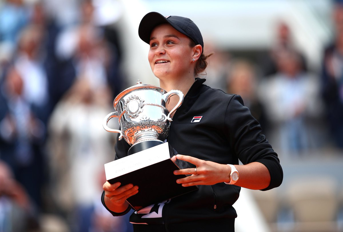 Pride of a nation. Congratulations @ashbar96 on your first Grand Slam title at @rolandgarros 🏆 🇦🇺 #RG19