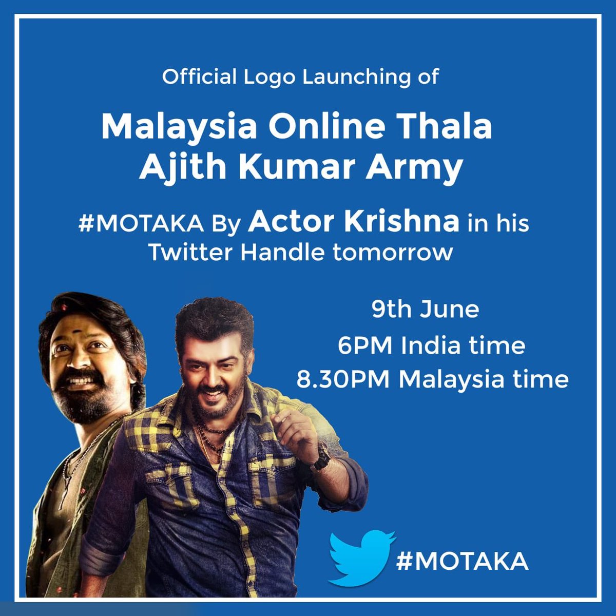 Malaysia Online Thala Ajith Kumar Army #MOTAKA Logo Will Launch By @Actor_Krishna Sir 🥳 Great News 🤩🤩🤩🤩 @ajith_nkp More To  Come. Announcement Poster Design By @madbirdstudio