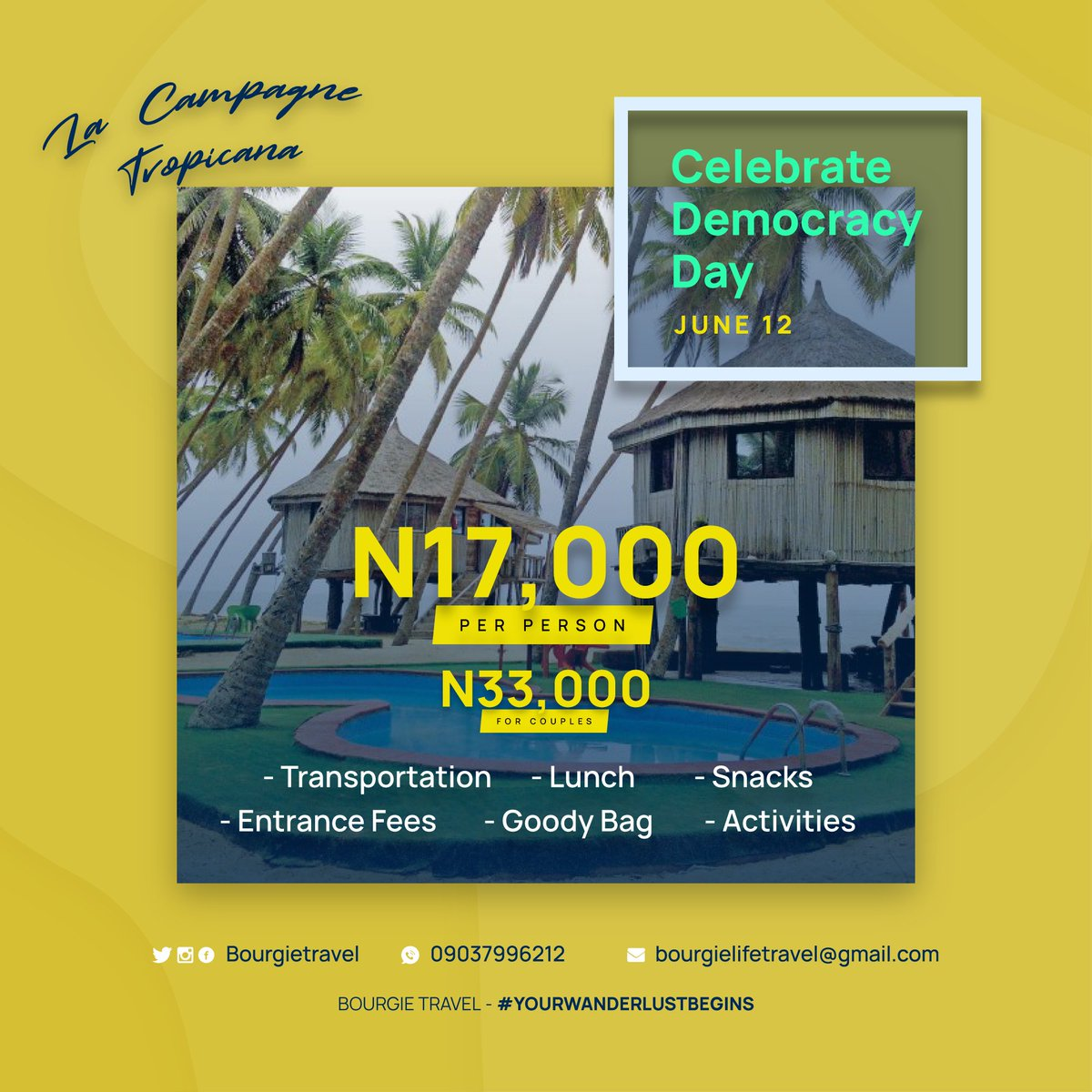 Happening this Wednesday, June 12 #DemocracyDay - Our La Campagne Tropicana hangout.  Want to chill by the beach and have fun with some really cool people? Send a DM now to be a part of this!  #YourWanderlustBegins #BourgieTravel<br>http://pic.twitter.com/anAeOkFtyQ