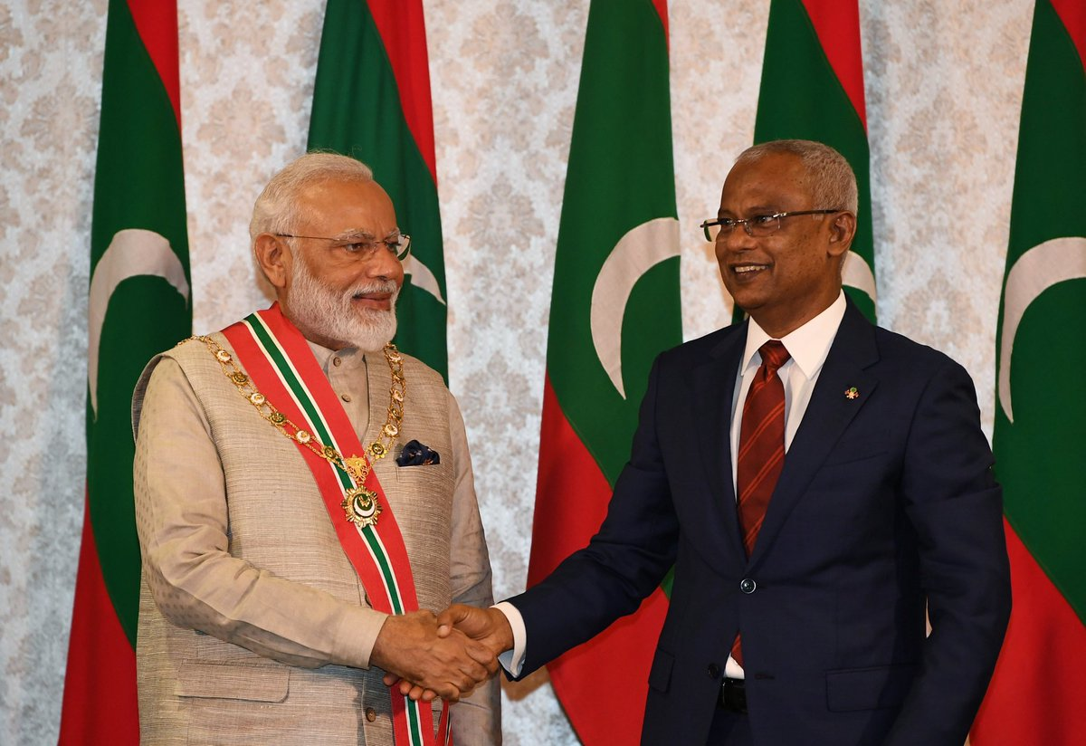 Humbled to receive The Most Honourable Order of the Distinguished Rule of Nishan Izzuddeen.   I dedicate this award to the values and ethos of India, as well as the ever lasting friendship between India and Maldives.