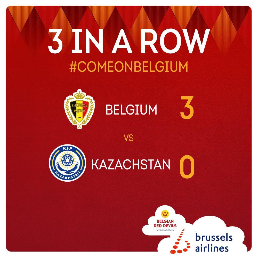 3 wins in a row! ⚽️ #COMEONBELGIUM 🇧🇪 #BELKAZ