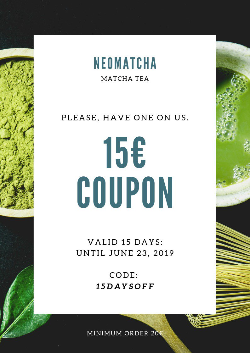 Hey there 👋  there are 3 things we #love: 1. #You 😊 2. #Matcha 🍵 3. #Summer ☀  Here´s a 15€ coupon to #celebrate the Summer, our Matcha and You! 🎉🎊 https://t.co/c3z7oosfuK