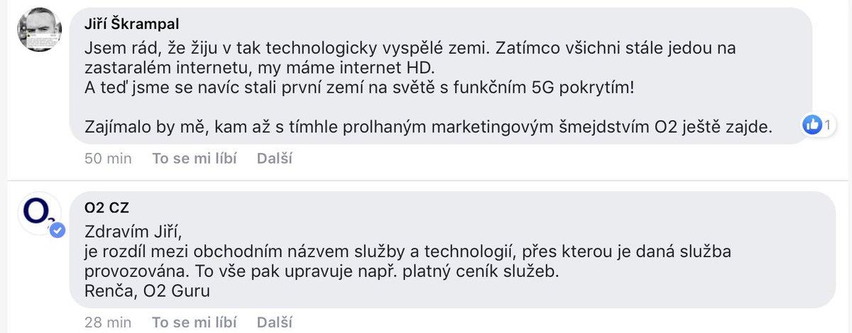 """Renča dostala noty.  Každý přece ví, že obchodní název značky a technologie, na které služba jede, jsou dvě různé věci. Že by """"5G"""" internet mohl mít něco společného s 5G sítěmi, by mohlo napadnout jen idiota.  Bravo @O2_CZ."""