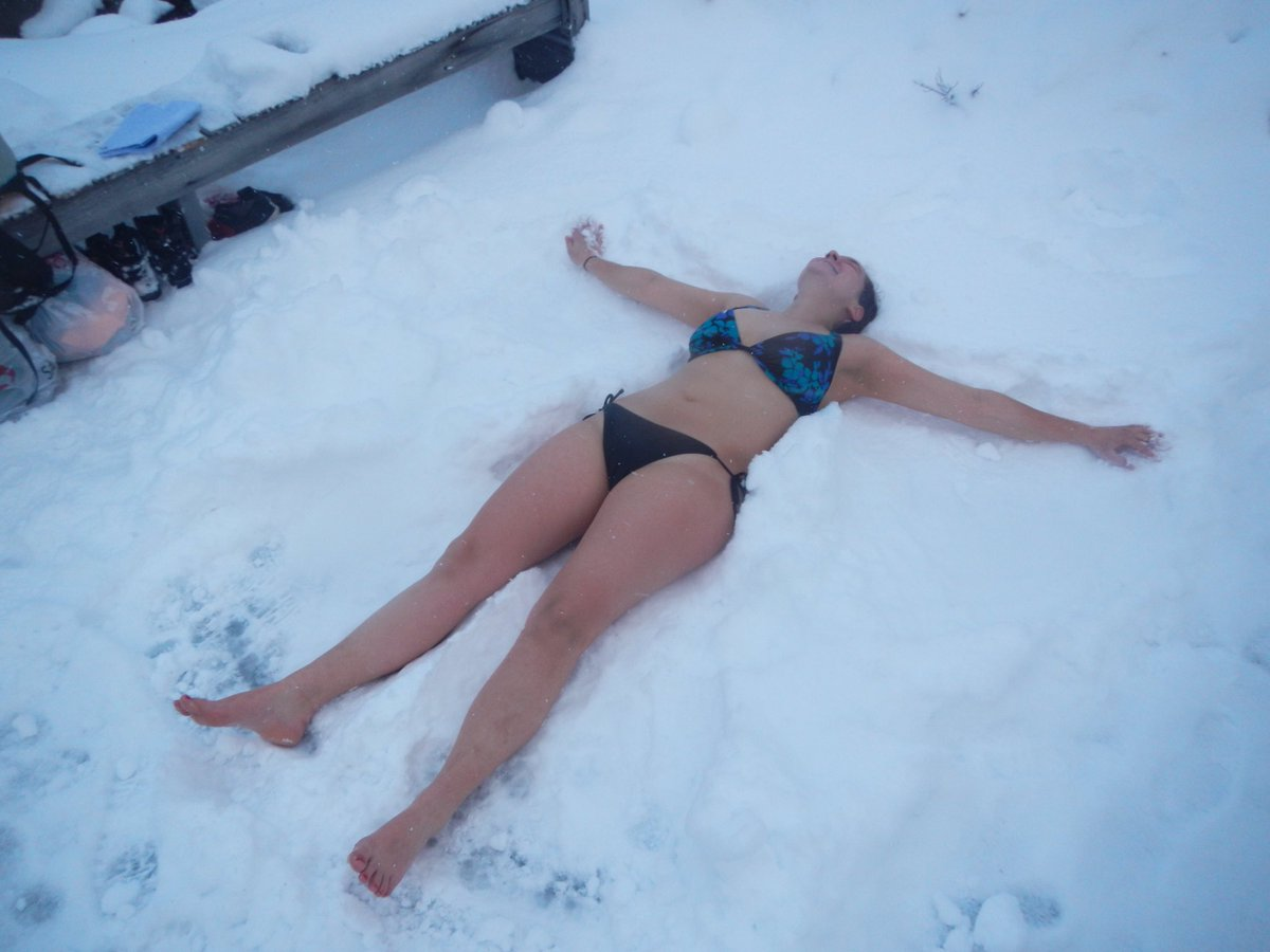 Bikini snow angel, masturbating girl and boy gif