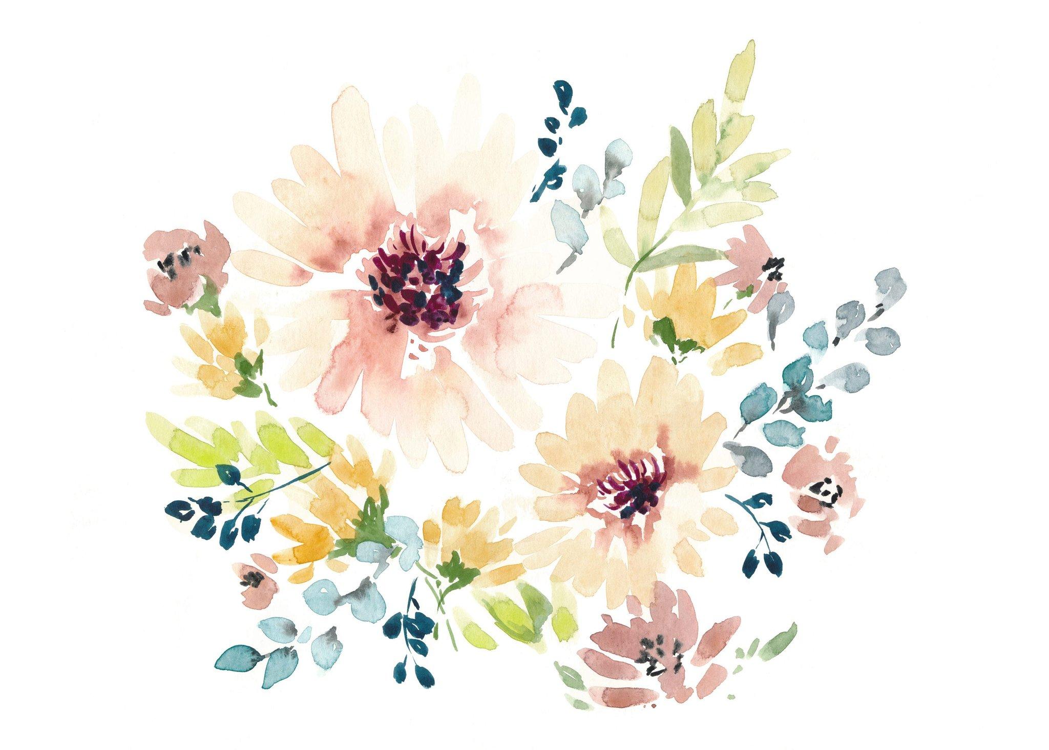 Постер цветы на белом фоне