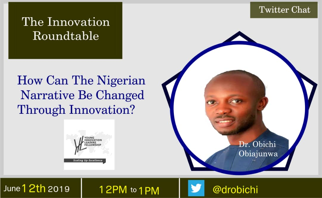 Can we change the narrative of Nigeria through innovation? Join me and YIL fellows in the conversation this democracy day. #democracyday #June12 #TIR<br>http://pic.twitter.com/VEhxGvBos7