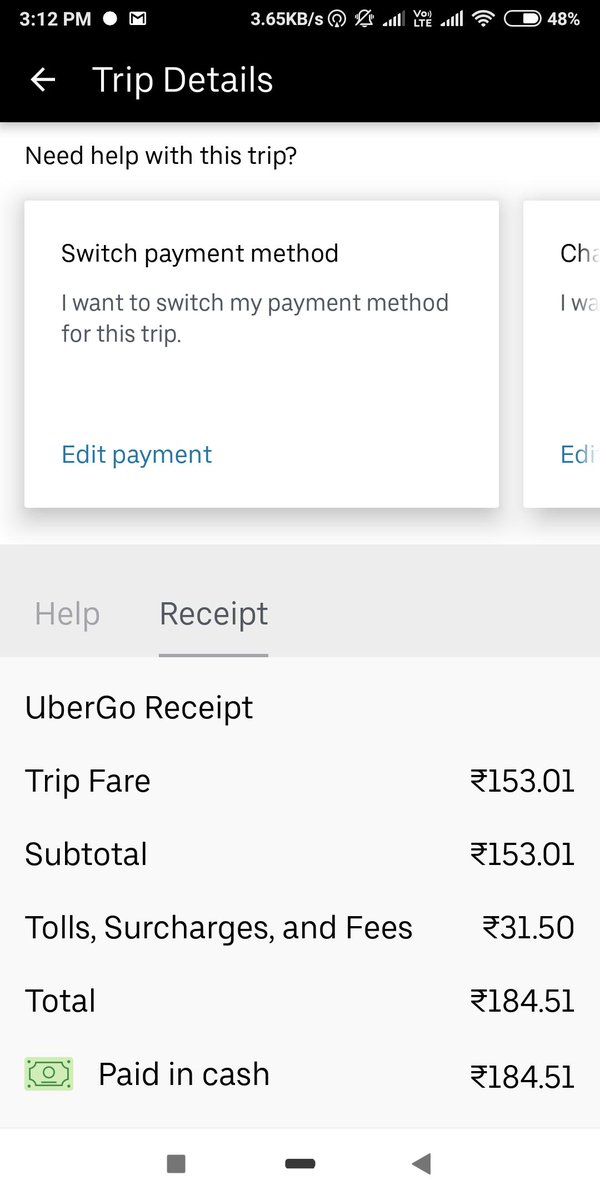 I had to face one of the worst billing evaluation in #Uber apps today. I Booked my cab from dr.Ambedkar school to SIFL model colony.  when I had booked the cab price showed 153.01 rupees.  After finishing my ride, it showed me 184.51 rupees. #uberlandia #Uberpic.twitter.com/VEvK9tTlf3