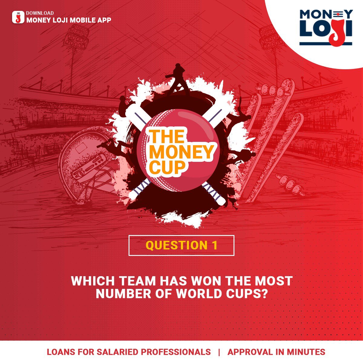 #ContestAlert Can you answer this simple question? Let's see! #Contest Rules- 1. Like/Follow MoneyLoji on Instagram, twitter & Facebook.  2. Tag 3 of your friends.  3.  The contest will close on June 15.  4. Use #TheMoneyCup  #MoneyLoji #WorldCup #WorldCup2019 #ContestTime