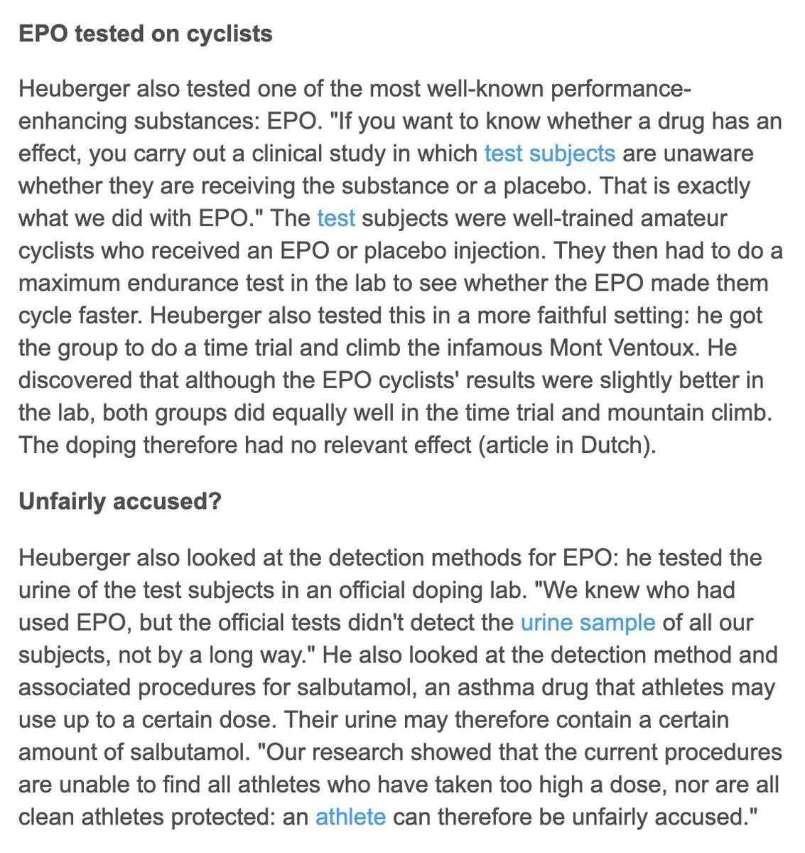 He also found little evidence EPO helped (which requires more evaluation) and that detection methods are garbage: