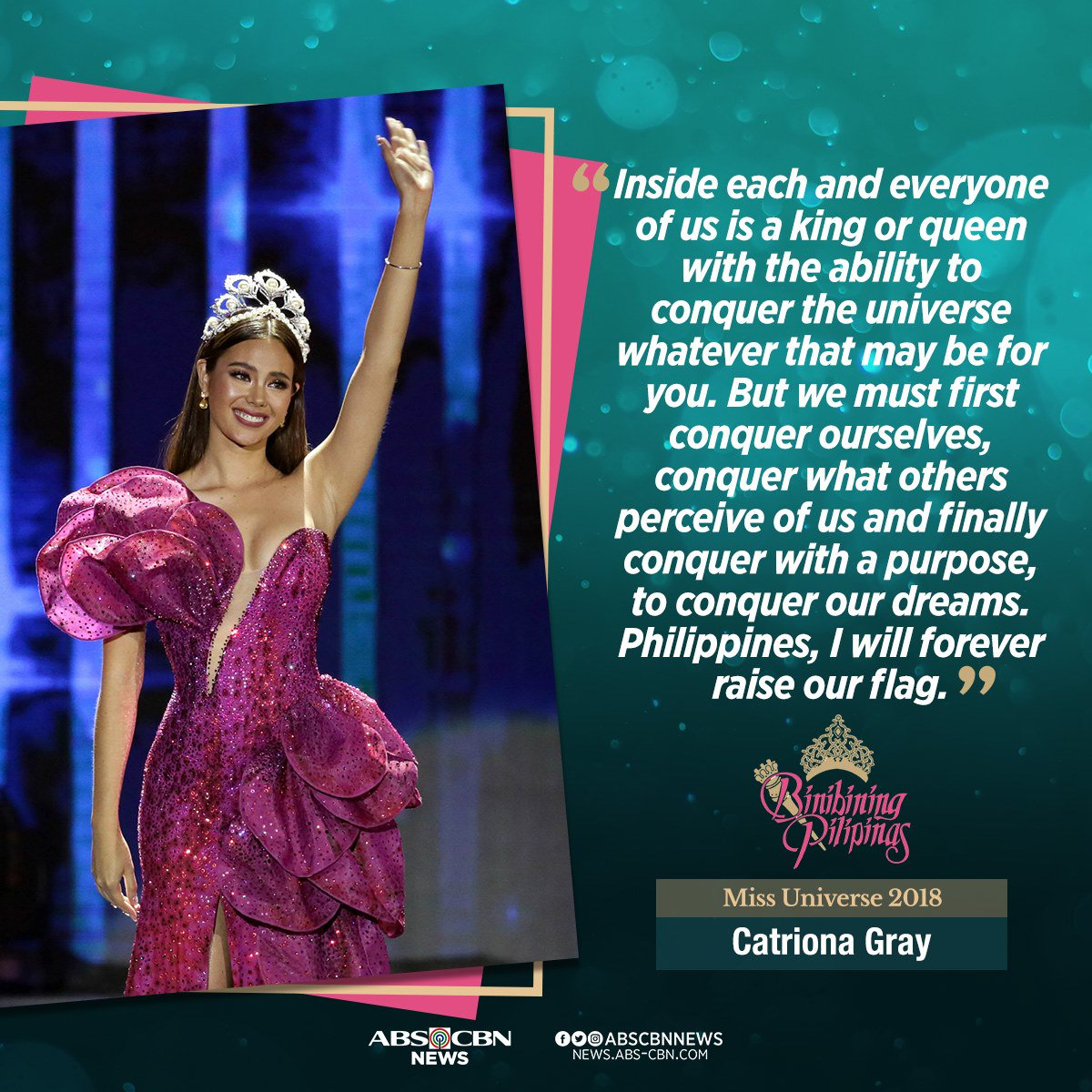Miss Universe 2018 Catriona Gray's final message was filled with words of gratitude and encouragement for the 104 million Filipinos who supported her in her journey. #BbPilipinas2019<br>http://pic.twitter.com/r3RnKJMUeM