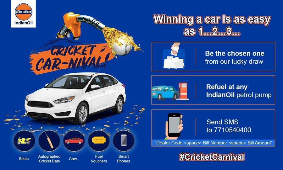 Now, it's your chance to win big at the #IndianOil #CricketCarnival. Fill fuel of a min. of Rs 1000 for your car & a min. of Rs 300 for your bike, send us an SMS 'Dealer Code <space> Bill Number <space> Bill Amount' to 7710540400 & win exciting prizes. T&C http://bit.ly/2Z07Uwm