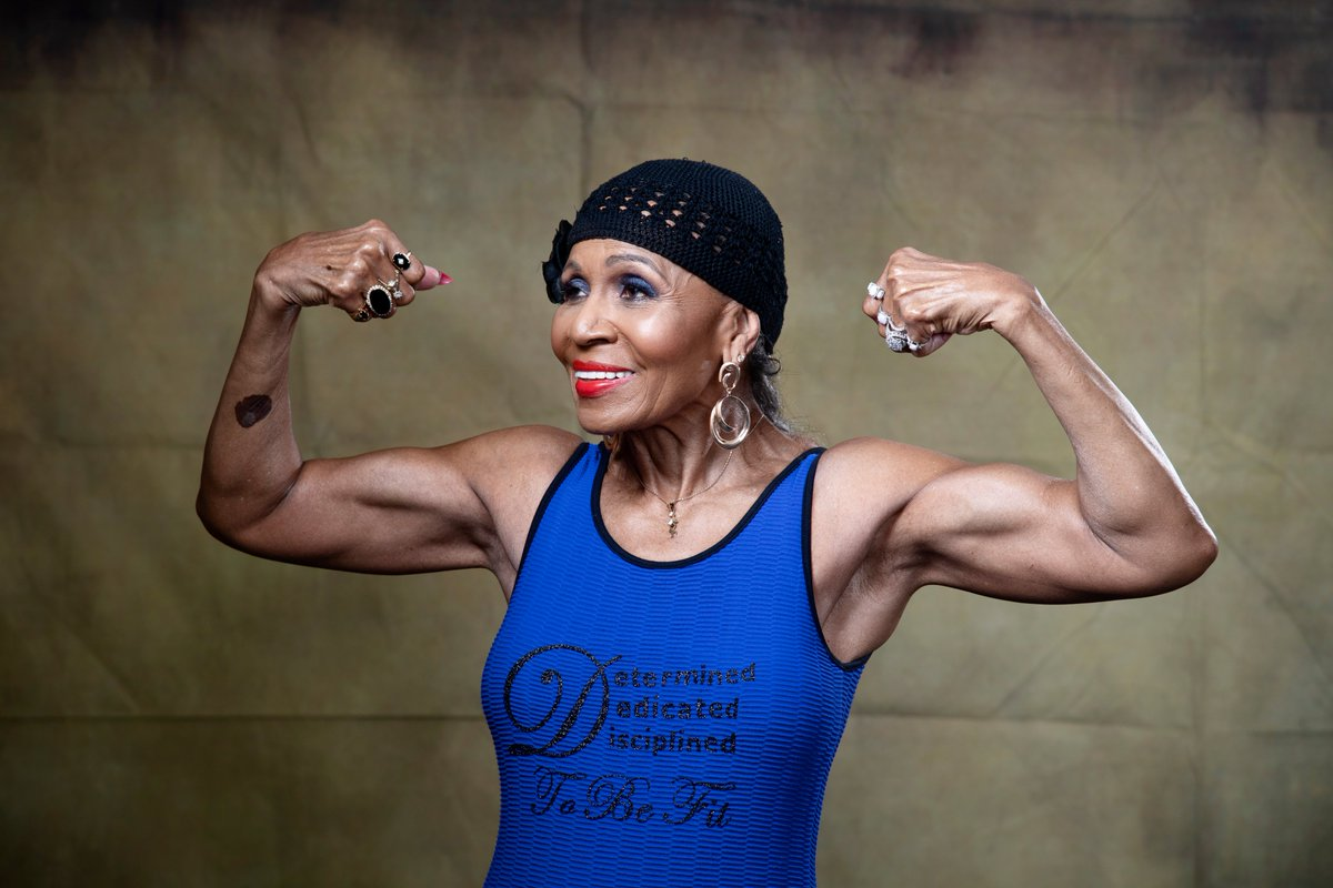 "Ernestine Shepherd became a champion bodybuilder after long avoiding exercise.  ""Now I live by and teach a mantra: determined, dedicated, disciplined to be fit. I always tell those I work with that age is nothing but a number."" https://wapo.st/women50"