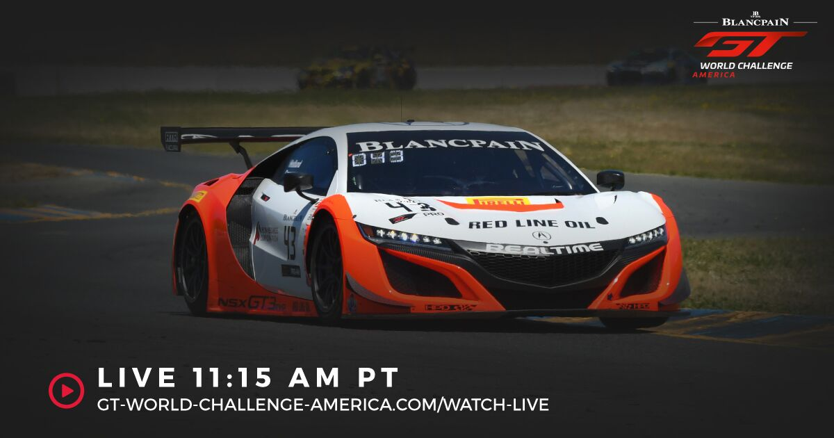 Sunday at @RaceSonoma! The @Acura NSX GT3 teams hit the track at 11:15 today! 💻 : gt-world-challenge-america.com/watch-live ⏱: ow.ly/bJ2z30oTQvQ 📻: @SIRIUSXM 389/938 📱: BGTWCA App