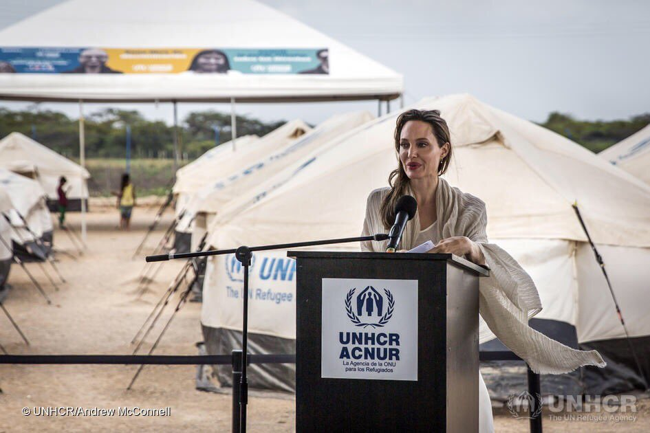 We were both moved by the generosity of the #Colombian people and the increasing desperation of the #Venezuelan refugees we met.  @refugees Special Envoy is speaking not from a refugee camp but a center that aims to rescue, protect & allow a new start.  https://eur02.safelinks.protection.outlook.com/?url=https%3A%2F%2Fwww.unhcr.org%2Fnews%2Flatest%2F2019%2F6%2F5cfc25de4%2Fstatement-unhcr-special-envoy-angelina-jolie-venezuelan-refugees-migrants.html&data=02%7C01%7CCLEMENTS%40unhcr.org%7C0ee27b32e18344e4dfec08d6eceff652%7Ce5c37981666441348a0c6543d2af80be%7C0%7C0%7C636956912704506796&sdata=ZcgZiCVDs2Q1QKdRknemE9l7DyhfYUmxvHYZGRTH2Zk%3D&reserved=0…