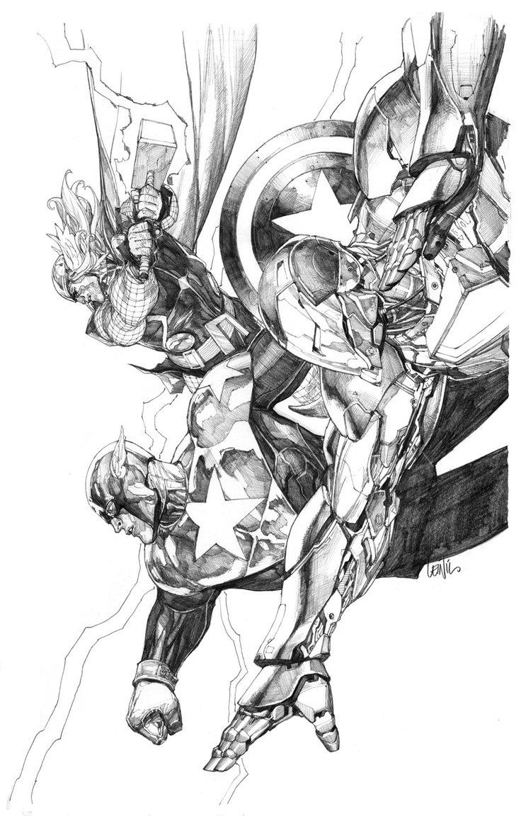 The Avengers by Leinil Yu #IronMan #CaptainAmerica #Thor #AvengersEndgame #AvengersAssemble aimcollectibles.com/2013/11/the-av…