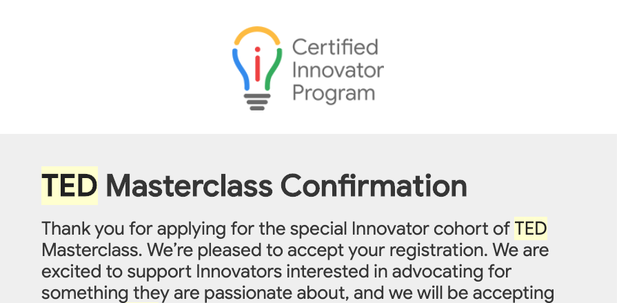 Thanks #GoogleEDU for the opportunity to join the #GoogleEI #TED Masterclass.