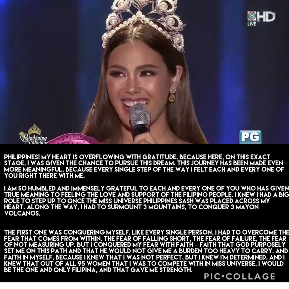 Transcript of Catriona Gray's final speech.   Thank you  my Queen Catriona Elisa! You will forever be my favorite Binibini and Miss Universe!   #BinibiningPilipinas2019  #BbGrandCorinationNight2019  #BbPilipinas2019<br>http://pic.twitter.com/AmZeBmBhAC