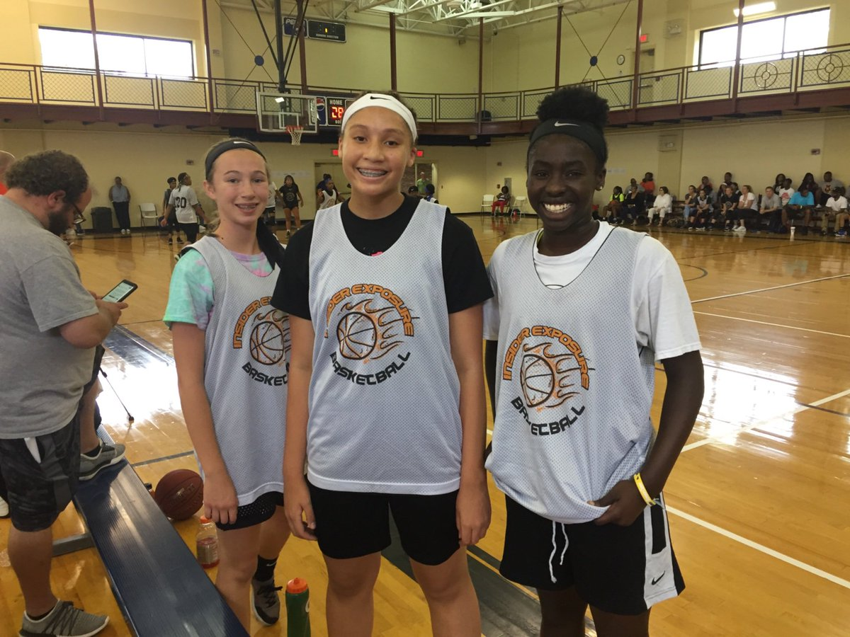 Three the hard way at the @InsiderExposure #JrAACamp   '25 PG Kate Sears (NC) who posses ball skills necessary to play at a high level.  '23 PG Amor Harris (VA) plays hard on both ends of the floor.   '24 PF/C Mariah Knight (KY) is a very patient player who defends the rim well.