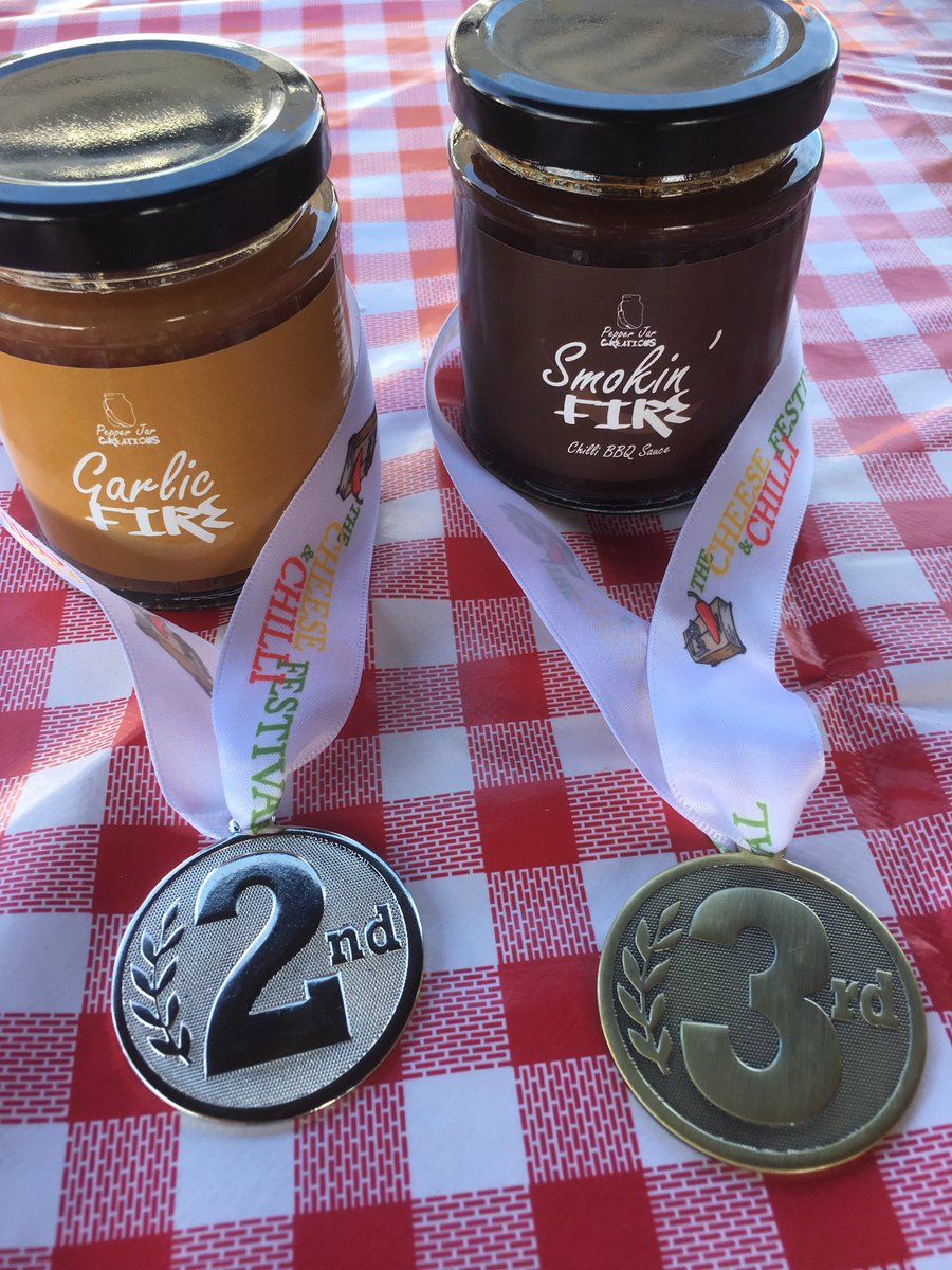 Blown away! 2 more medals for Pepper Jar  at #christchurch #cheeseandchillifestival . 2nd place for #garlicfire and 3rd for #smokinfire!! Thank you to all who voted and supported me. I'm made up <br>http://pic.twitter.com/yKLm0CXMGD
