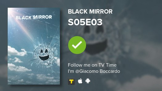 test Twitter Media - I've just watched episode S05E03 of Black Mirror! #BlackMirror  #tvtime https://t.co/R1fTC9l9VS https://t.co/yXoMnwvKfx