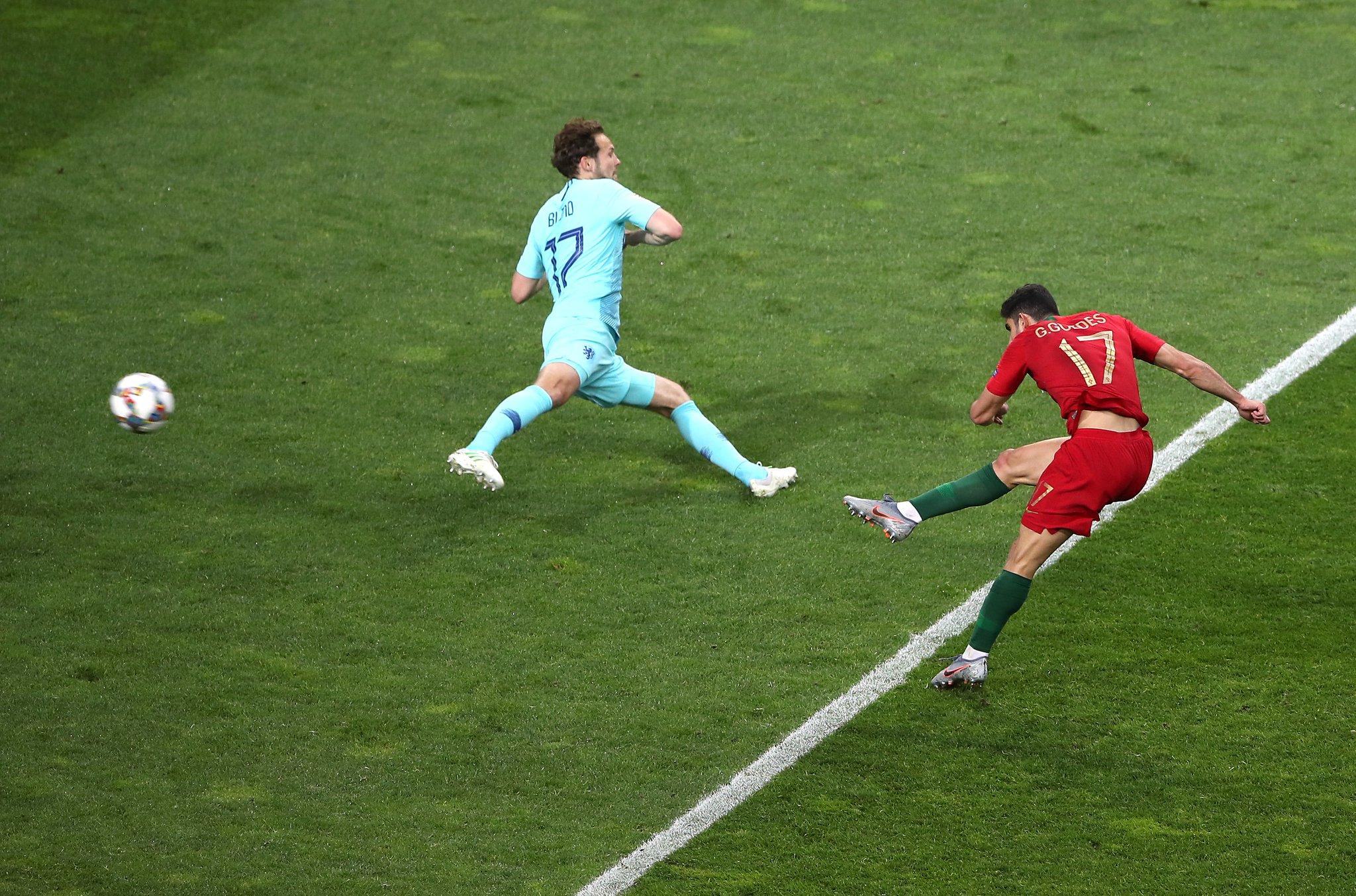 هدف البرتغال الأول في مرمى هولندا في نهائي دوري الأمم الأوروبية
