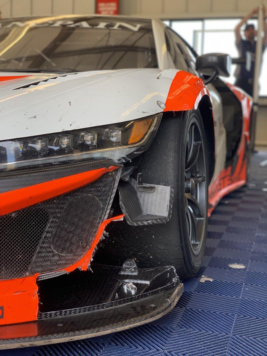 The folks at @Acura @HondaRacing_HPD @JASMotorsport make a stout race car. #battlescars #AcuraNSXGT3Evo #stillquickatthend