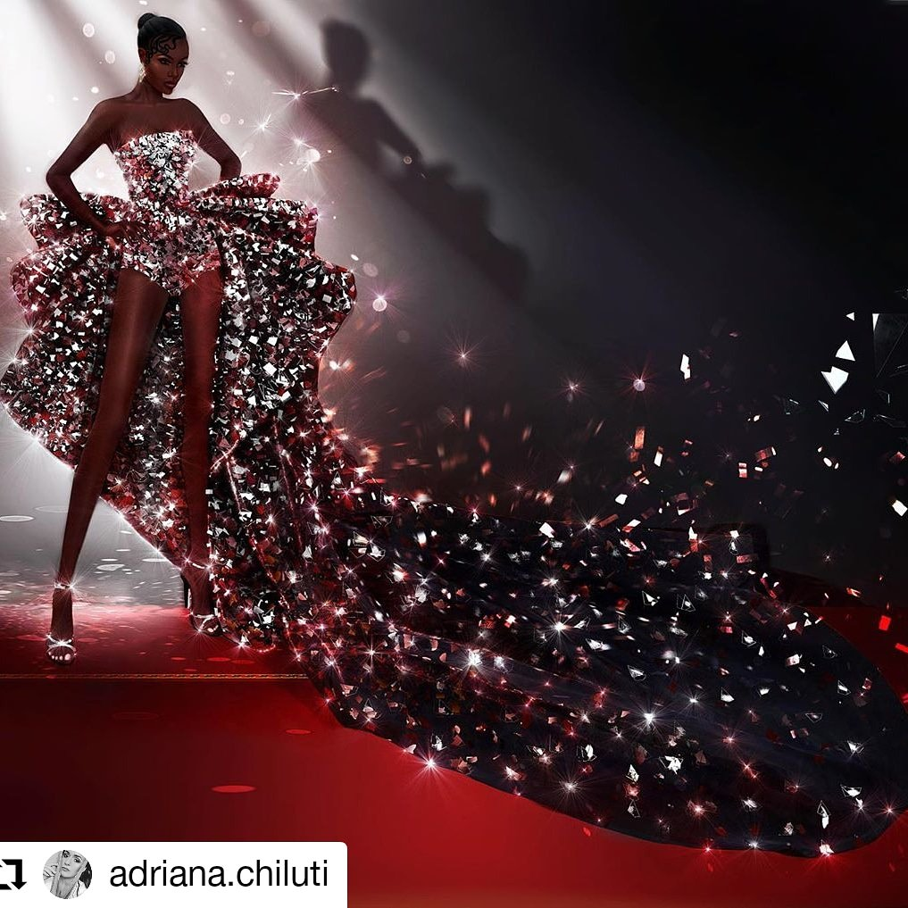 #Repost @adriana.chiluti Drawing inspired by gorgeous look of @leomieanderson 😍 @ramikadi 😍💥🖤🖤🖤🖤 #ramikadi #ramikadiangels #leomianderson #cannes2019 #hautecouture #mirror #redcarpet #cannesfilmfestival #cannesfrance  #digitalpainting #photomontage##adriana.chiluti