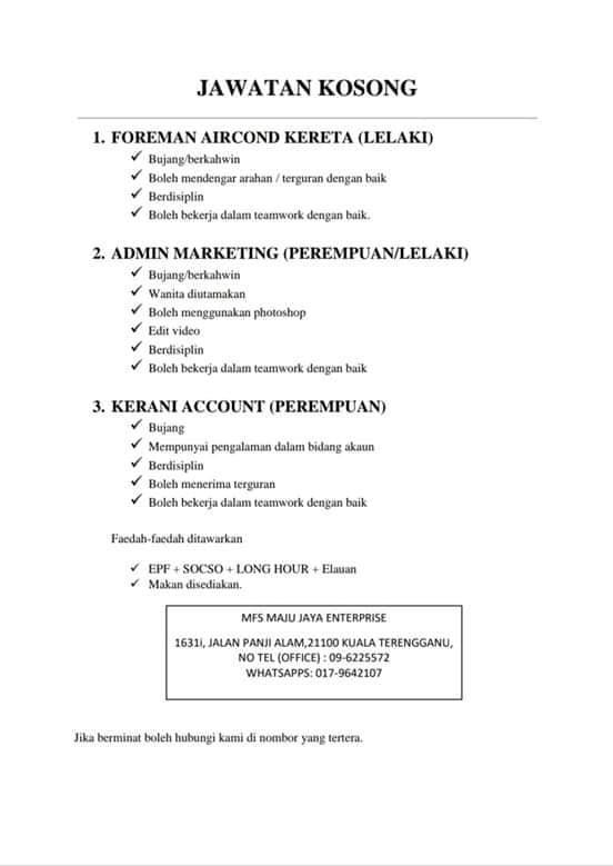 Info Kerja 2020 On Twitter Jawatan Kosong Di Kuala Terengganu Jawatan 1 Foreman 2 Admin Marketing 3 Admin Account Berminat Ws Ke 017 9642107 Kerjakosong Kerja2019 Kualaterengganu Vacancy Adminpost Https T Co Gcd23dlwho