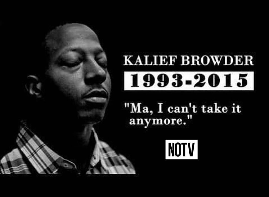 #NeverForget #KaliefBrowder  -Wrongfully accused of stealing a backpack at 16 -Couldn't afford bail -Spent 3 years in inhumane conditions/solitary confinement at Rikers, while maintaining his innocence -Committed suicide shortly after being released MUST WATCH #Netflix #JayZ <br>http://pic.twitter.com/7CixxZ0TVd