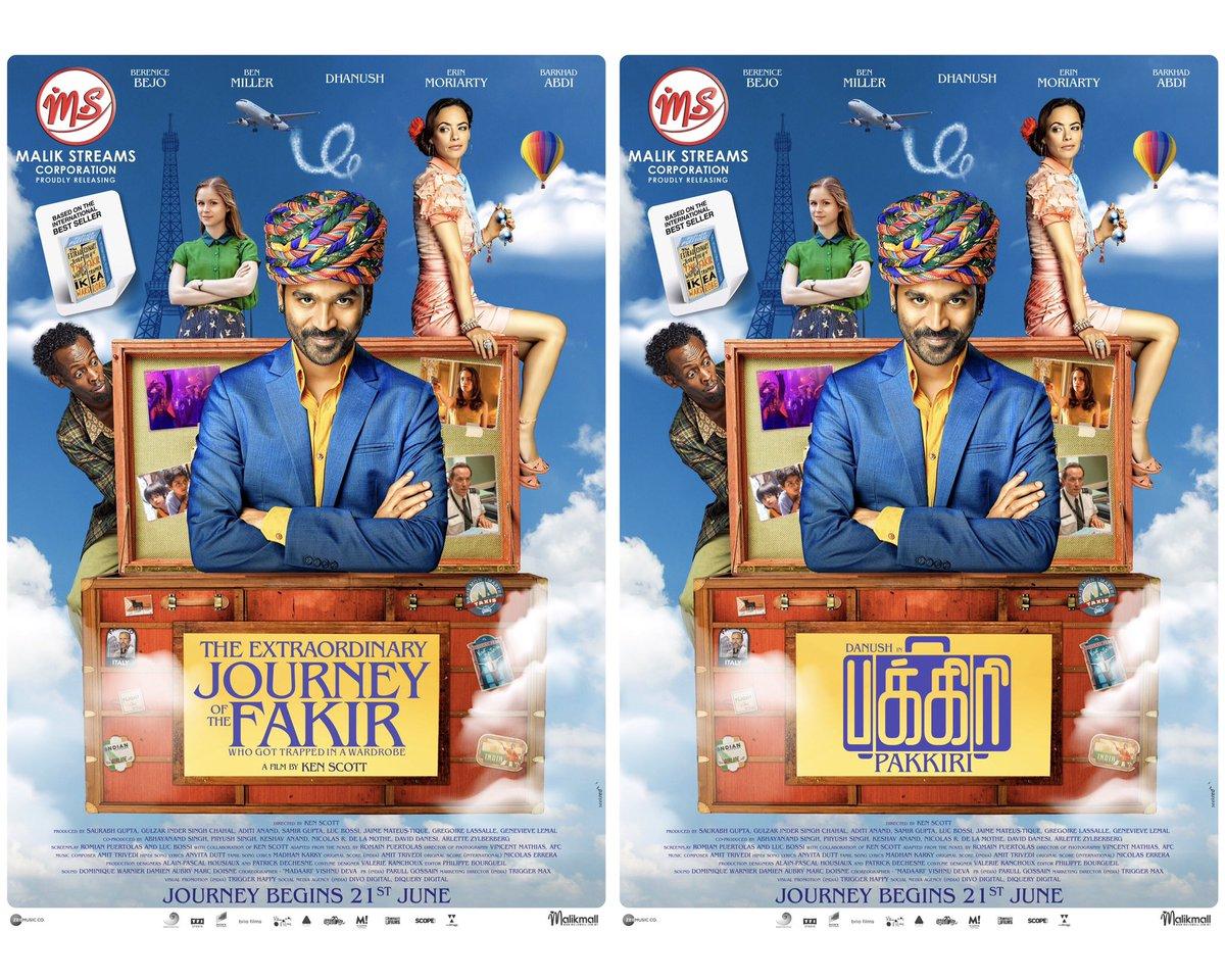 #TheExtraordinaryJourneyOfTheFakir & Tamil #Pakkiri Rolling in cinemas from 21st June. #malikstreams @dhanushkraja @FakirOfficial @kenscottfakir @LRCF6204 @BereniceBejo @RealBarkhad @GRfilmssg
