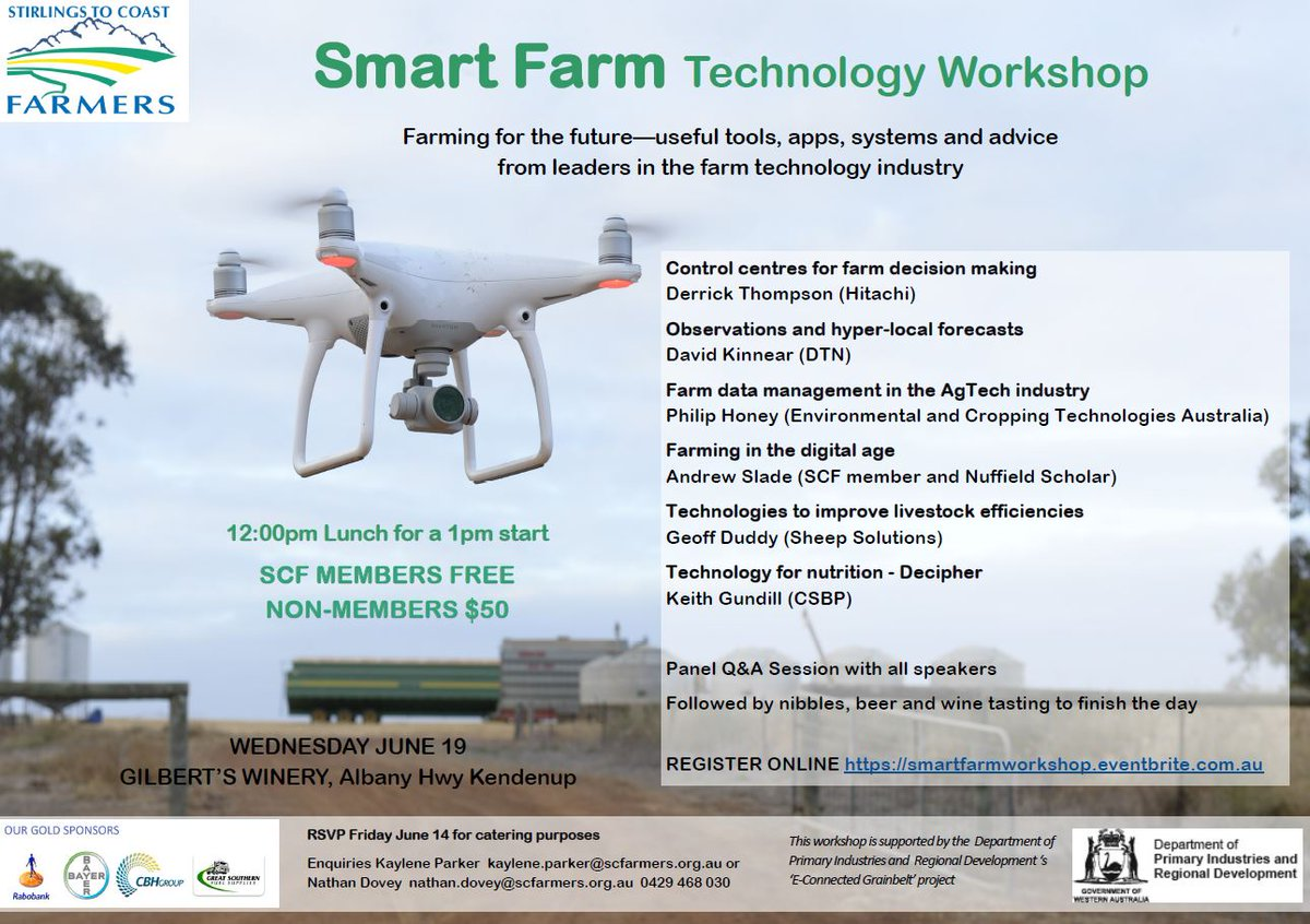 SCF Smart Farm Technology Workshop NEXT Wednesday June 19 from 12pm.   Lunch and Sundowner included. FREE for SCF members, non-members welcome $50. Supported by @DPIRDbroadacre 'E-connected Grainbelt'. Head to https://smartfarmworkshop.eventbrite.com.au for further details and to register ASAP.