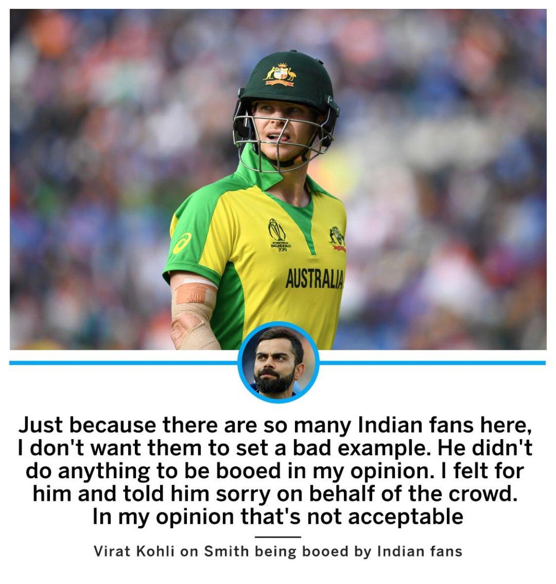 Incredible sportsmanship from Kohli #SpiritOfCricket He won many's heart around the world #ViratKohli@imVkohli and @stevesmith49 they both are great players.#SteveSmith