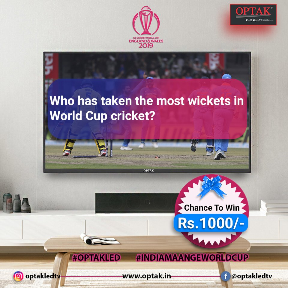 Contest alert 2! Comment down the answer and get a chance to win Rs.1000/- voucher.  #OPTAKLEDTV  #INDIAMAANGEWORLDCUP  Visit Now: http://www.optak.in   #giveaway #contestalert  #win #voucher #icccricketworldcup2019 #iccworldcup #worldcup2019  #icc2019 #cricketworldcup2019