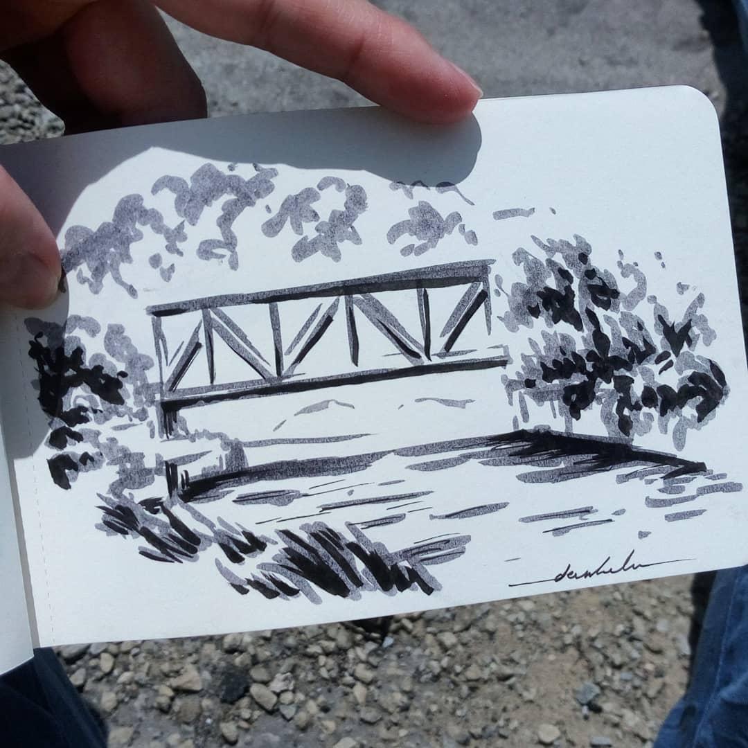 Bridge #dailyart #dailyillustration #bridge #nature #riverside #trees https://t.co/42yh3ZLfmQ