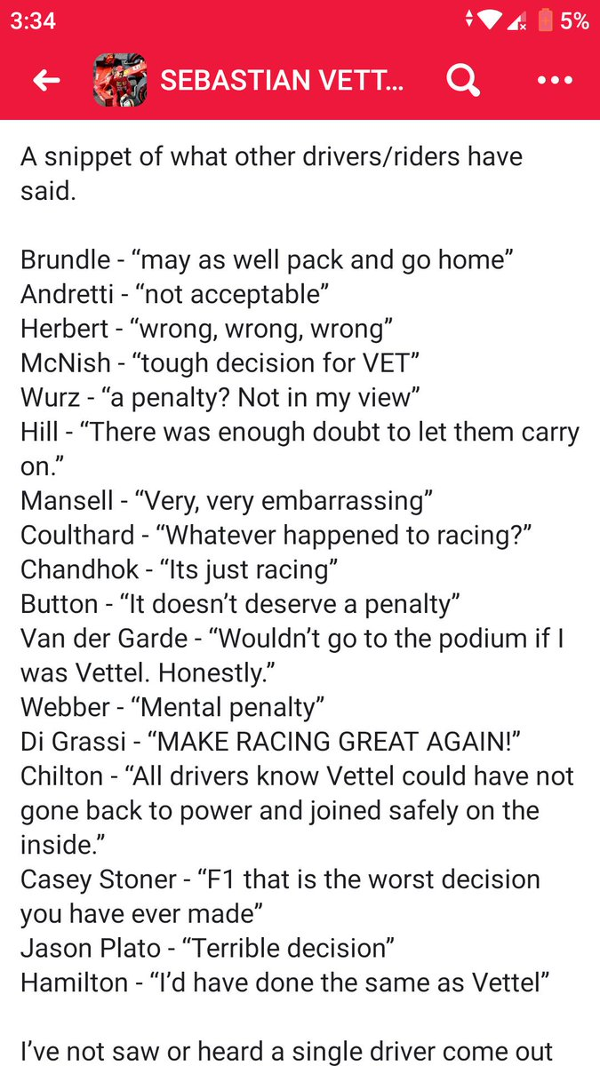 How many more ex-F1 drivers, current racing drivers and commentators need to speak so some people can understand that it was a really bad decision?!?!? #F1 #CanadianGP #Seb5