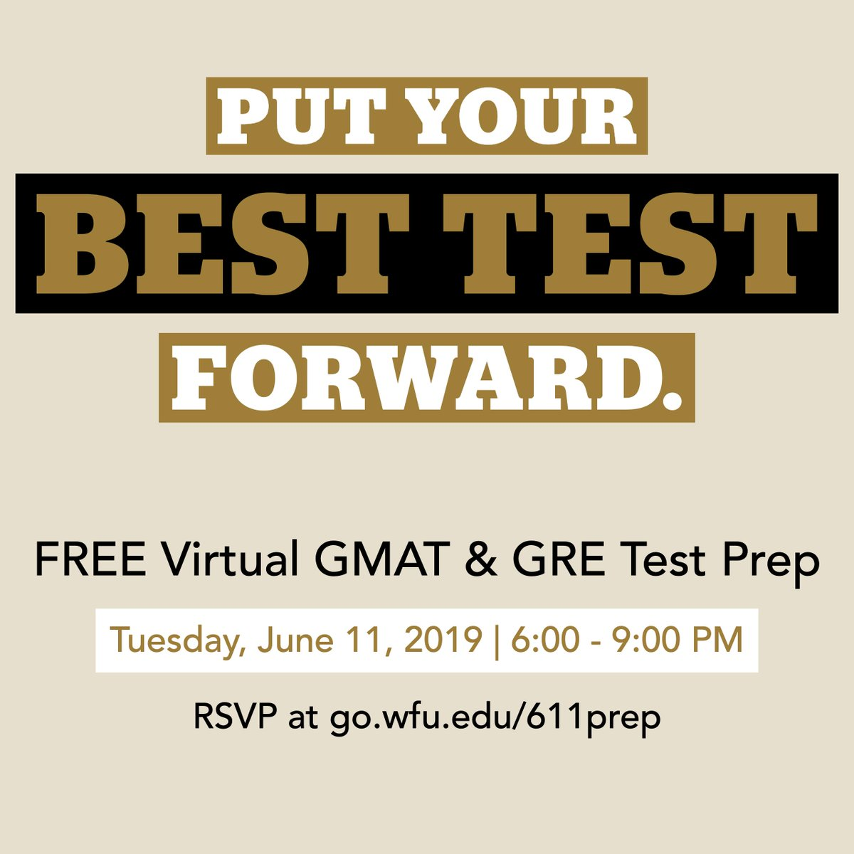 Tomorrow evening the School of Business is hosting a GRE and GMAT prep session webinar - and it's totally free to attend. RSVP at https://t.co/Xh3xbWSsER.