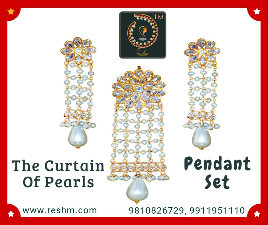The Curtain Of Pearls Pendant Set by Reshamm Shop now:  or Visit our store @ 1st Floor Next to Shoppers Stop GIP Noida #reshamm #Lightweightgoldjewellery #jewelleryinnoida #jewelleryindelhi #jewelleryinncr #goldlovers #jewelleryfans #fashion #designer