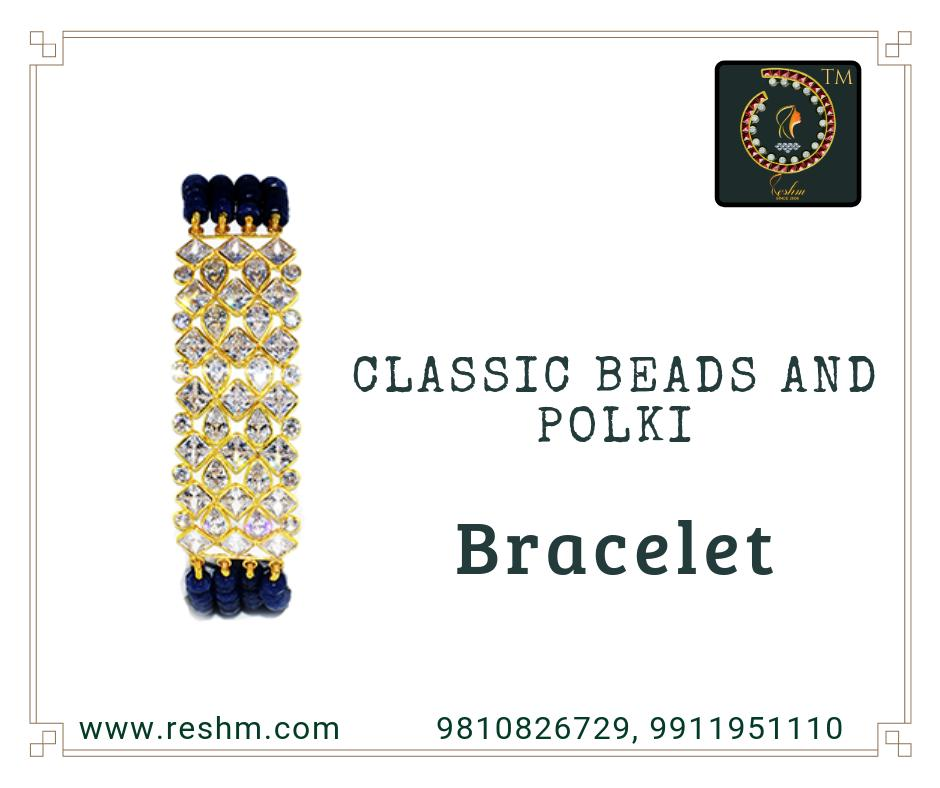 Classic Beads and Polki gold bracelet Shop now:  or Visit our store @ 1st Floor Next to Shoppers Stop GIP Noida #reshamm #Lightweightgoldjewellery #jewelleryinnoida #jewelleryindelhi #jewelleryinncr #goldlovers #jewelleryfans #fashion #designerjewellery