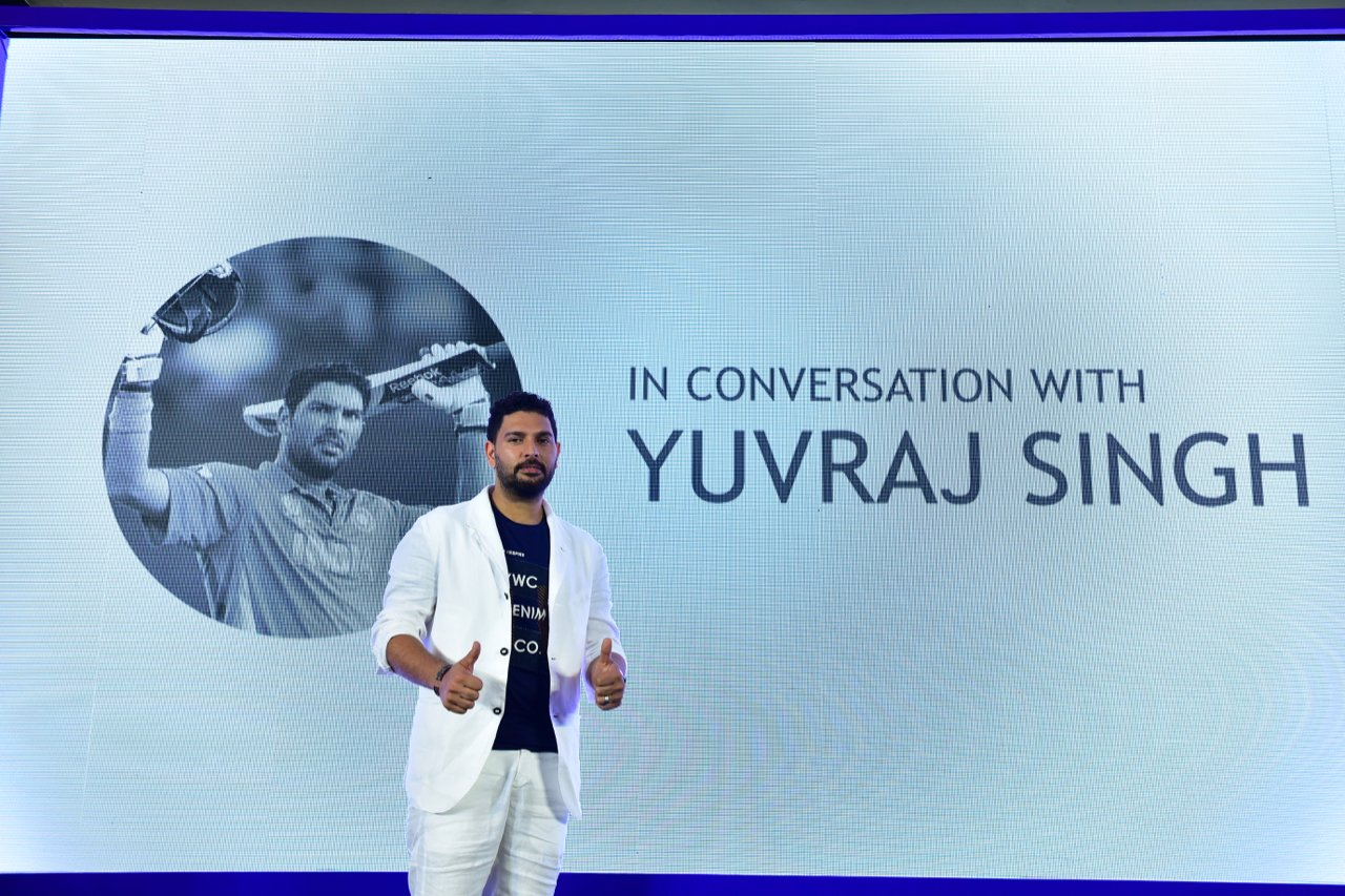 Yuvraj Singh at the event announcing his retirement