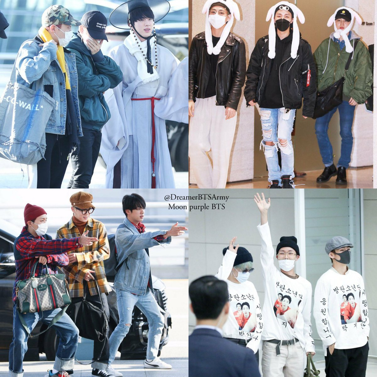 """@BTS_twt BTShave once again arrived at the airport dressed in their best """"penalty fashion!! Run BTSpenalities have become legendary. 😂😂😂😂🤟😍👏👏 in Incheon Airport ✈️ BTS FLOWERS🌻 #BTS #BTSFESTA2019"""