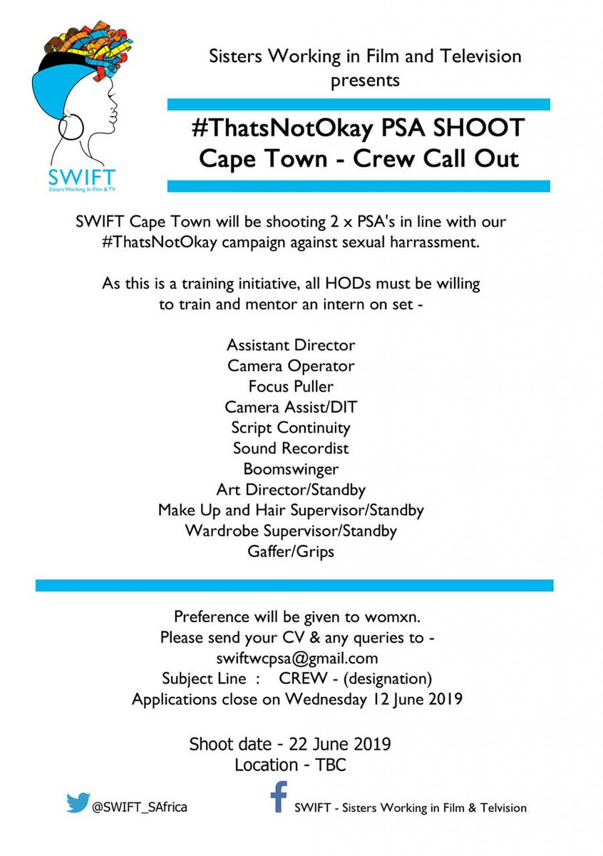 CAPE TOWN: Crew & Interns call out for the #ThatsNotOka PSA Shoot Direct all queries to the email provided.