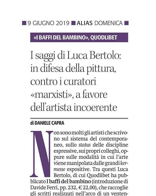 What About Painting? I wrote an #article for the @ilmanifesto about the #book #IBaffiDelBambino by #LucaBertolo #ConteporaryoraryArt #painting #curators #MarxistCurators https://t.co/oKnQ5bTDlH