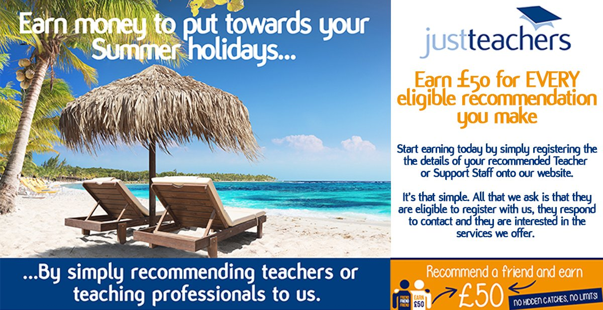 test Twitter Media - The Summer holidays are fast approaching, & it's that time of year where we could all benefit from a little extra spending money! Don't forget our recommendation scheme, where for EVERY eligible teaching professional you refer to us, you will receive £50.  https://t.co/KGyUu3g4Cj https://t.co/BQHv1ljA0X