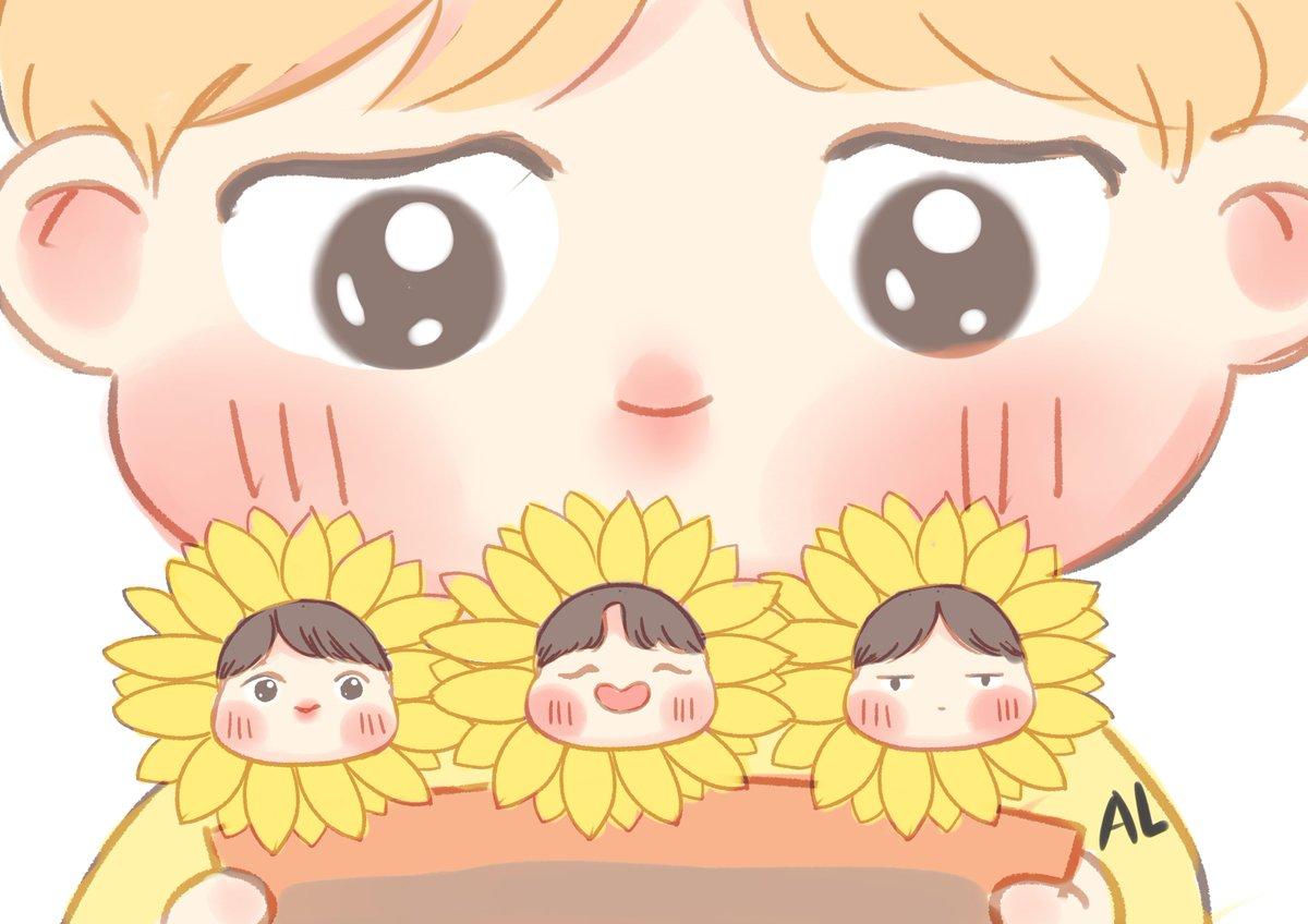 Jimin and his sunflowers  #BTS #btsfanart <br>http://pic.twitter.com/0Gco5PssMt