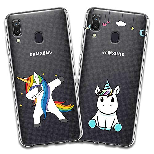 79bb7459a1c Reshias 2X Funda Samsung Galaxy A40, Cárcasa Silicona Transparente Gel TPU  Protector Bumper Case Cover