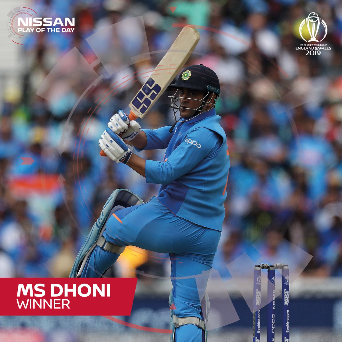 """The votes are in! MS Dhoni's enormous six was your favourite from yesterday's #INDvAUS clash :D""""That's huge, absolutely huge! Kohli, at the other end, acknowledges what the ex-skipper has done.""""#CWC19 #sweepthenation"""